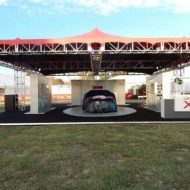 Stretch tent and truss used during F1 Jaguar launch