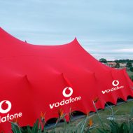 Vodafone Branded Stretch Tent. Large visual impact with branding to reinforce branding on a freeform stretch tent