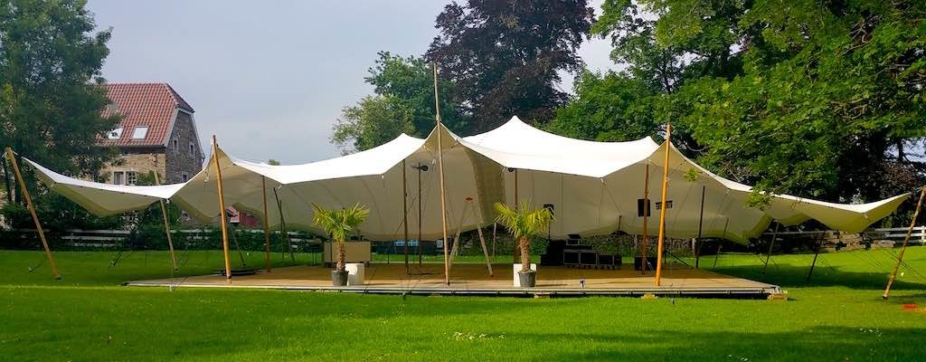Large White tent with connectors and wooden poles