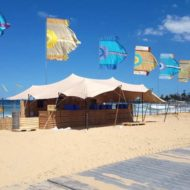 Corona SunSets Festival - stretch tent installation on sand