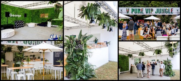 Wearecolab stretch tent truss frame vip jungle collage March 2019. Rental business inventory