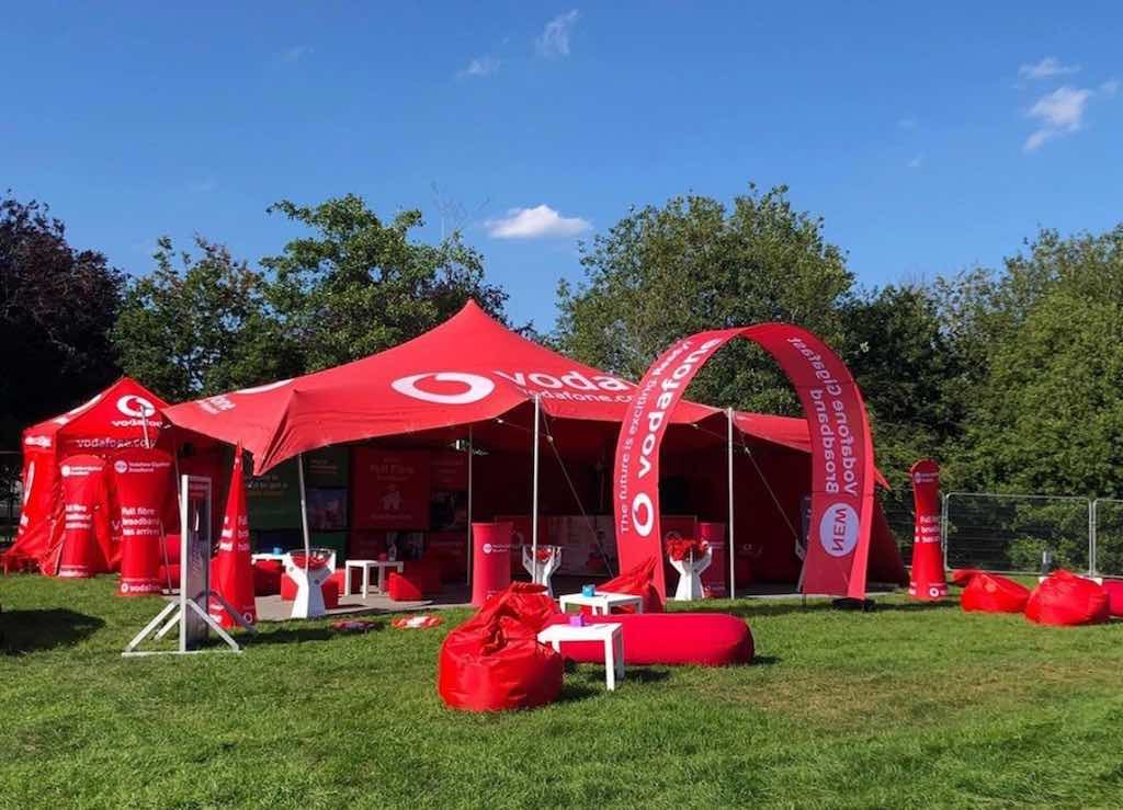 Vodafone branded stretch tent and side walls