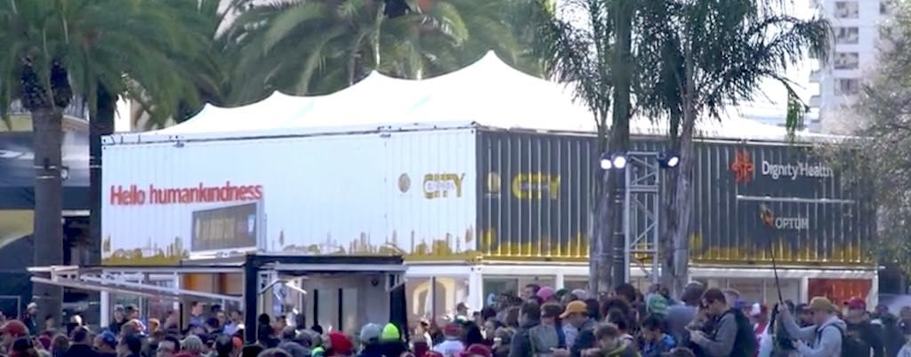 Grow Marketing - Dignity Health at Super Bowl City - Containers with stretch tent roof