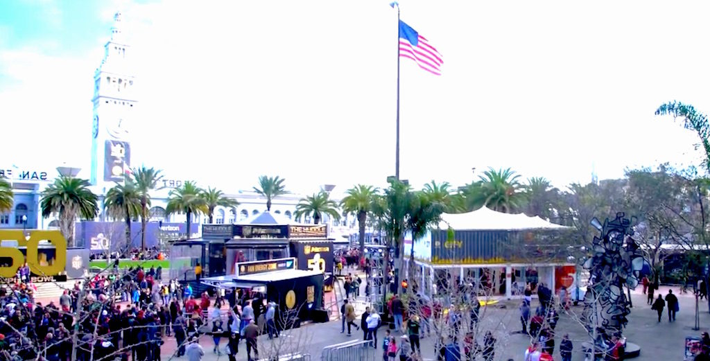 Grow Marketing - Dignity Health at Super Bowl City - Containers with Roof Tent