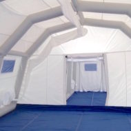 Negative pressure inflatable structure medical or industrial tent