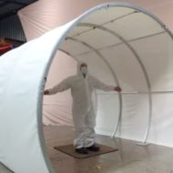 Sanitation Tunnel LITE decontaminating people