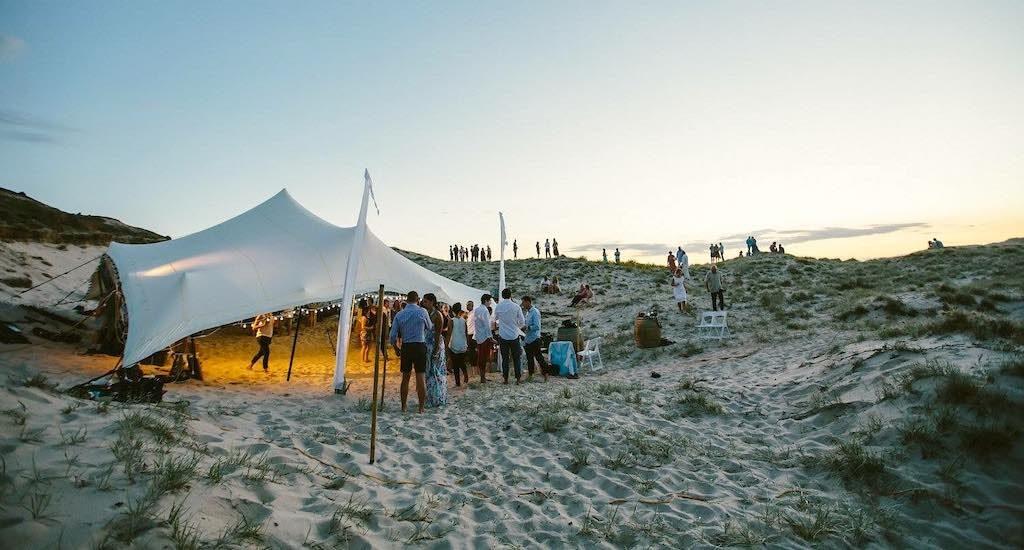 Socially distanced wedding on the beach