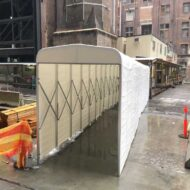 multiplex branded retractable tunnels on construction site