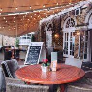 Brookmans pub stretch tent providing outdoor cover for pub terraces