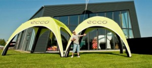 Sealed inflatable promotional tents