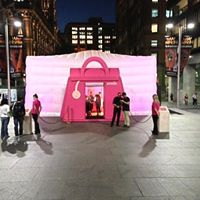 Inflatable Pink structure with hand bag door