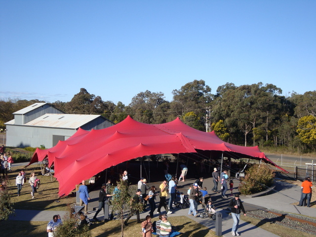 Red freeform stretch tent