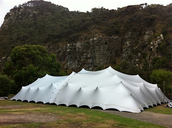 Silver Tent with all sides down